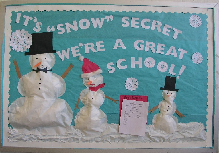 bulletin board ideas for january pictures. This bulletin board features snowflakes and three snowpeople.